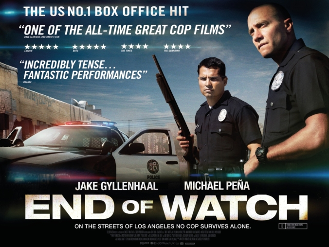 end-of-watch poster Jake and Michael stand tall and armed.