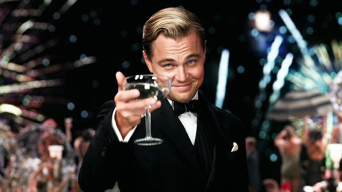 gatsby raises a glass to himself and his CGI impersonator in The Great Gatsby