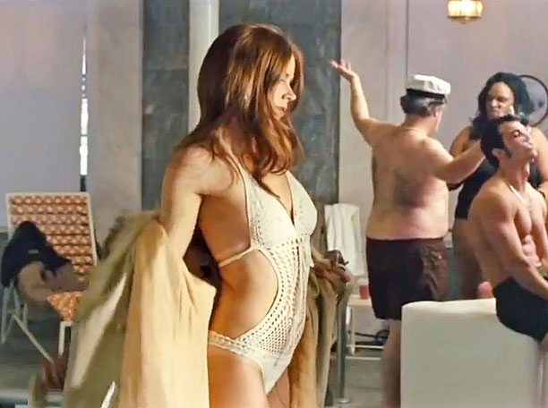 See thru bathing suit white and knit, Amy Adams nearly naked.