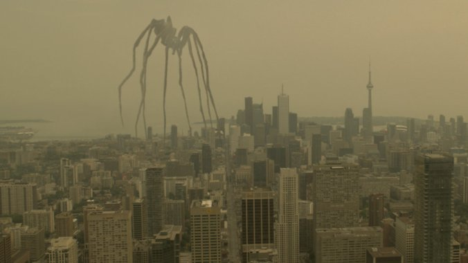 enemy- giant spider represent his mother hovering over his city waiting to control and abuse him