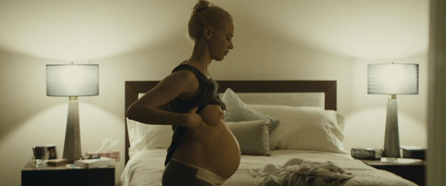 SarahGadon_Enemy_naked pregnant, swollen breasts and bloated belly of beauty.